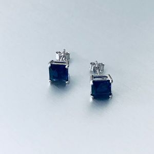 Sterling Silver Square Blue Sapphire CZ Earrings